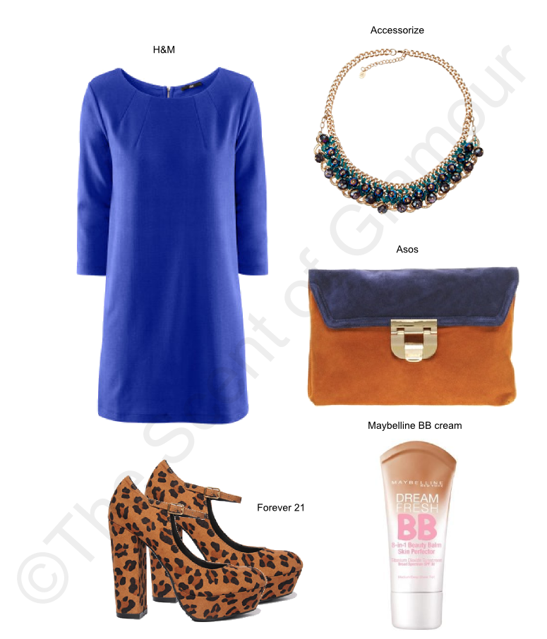 blueprint, forever 21 leopard heels, leopard print, h&m blue dress, asos bag, accessorize necklace, maybelline bb cream