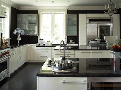 contemporary kitchen design with dark granite tops