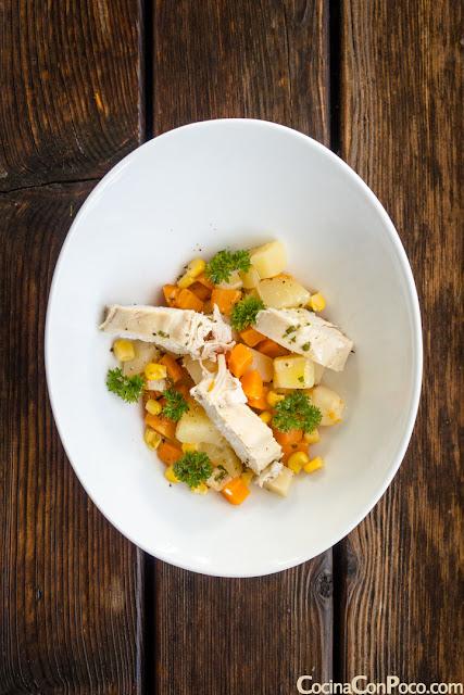 Receta de ensalada de pollo y patatas - Receta rapida