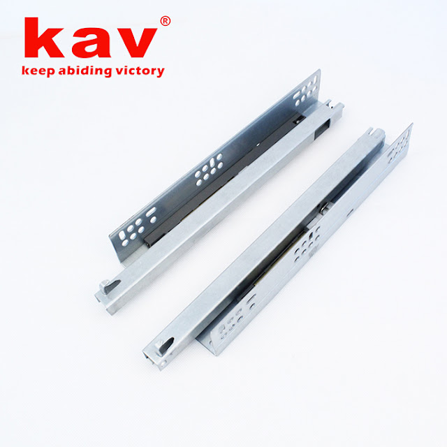 two folds concealed soft close drawer slides with plastic handle and copper cylinder
