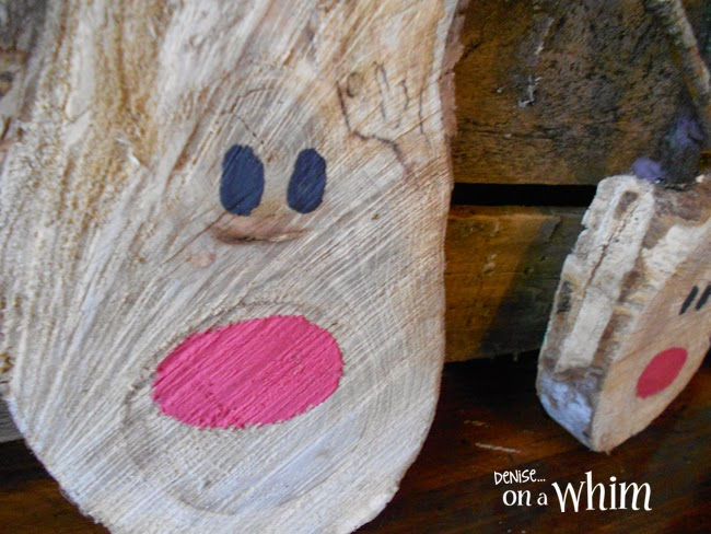 Adorable Reindeer Made from Log Slices via Denise on a Whim