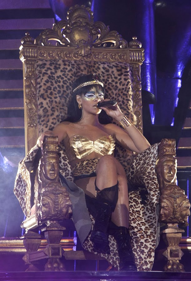 Rihanna sitting on her throne