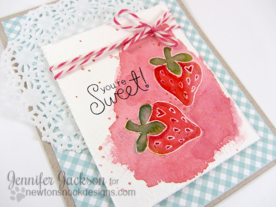 Watercolor strawberry card by Jennifer Jackson |  Sweet Summer Stamp set by Newton's Nook Designs