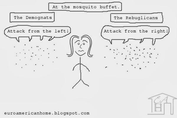 Mosquito politics stick figure: EuroAmericanHome