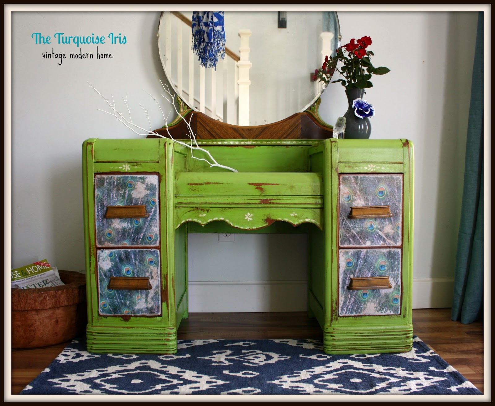 Apple Green Antique Waterfall Vanity With Peacock Feathers