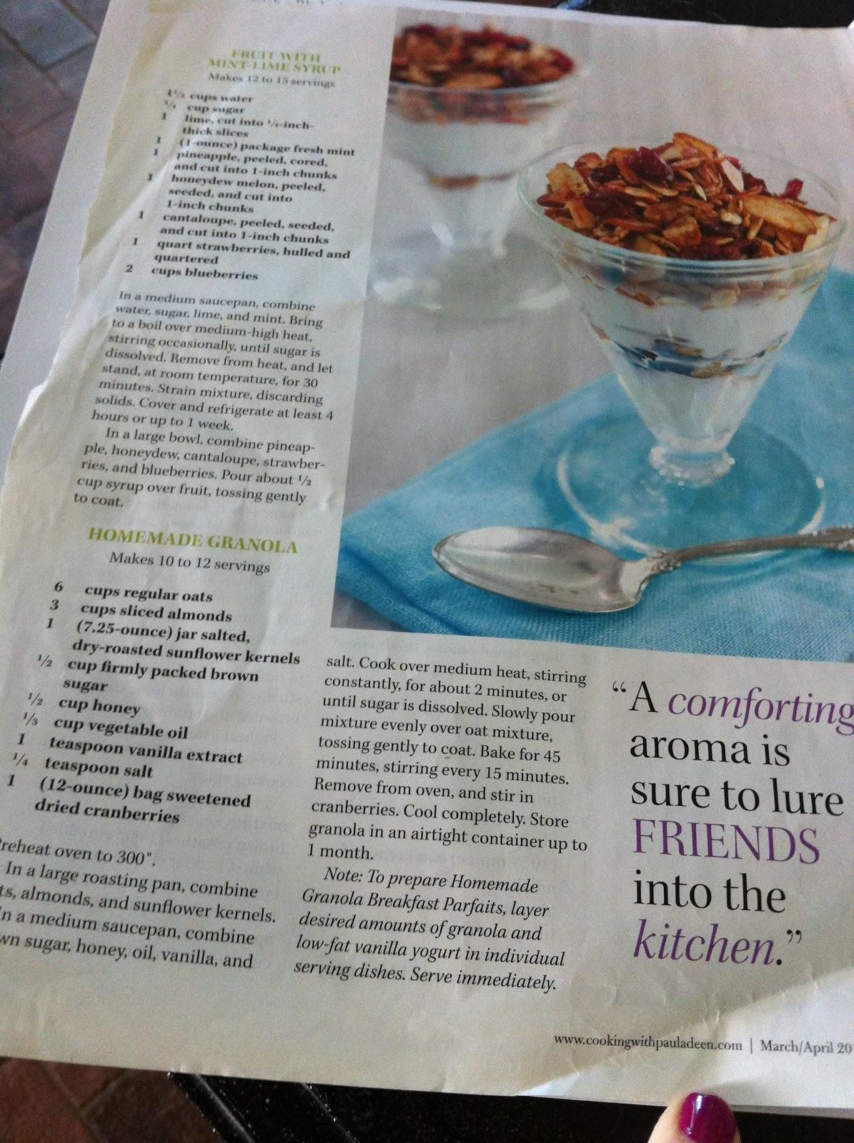 40 Shades of Pink: Paula Deens\' homemade granola