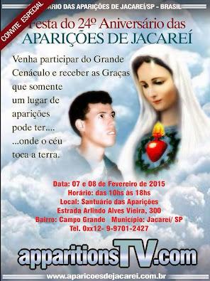 CONVITE - 6 E 7.2.2015 - CENÁCULO 24º ANIVERSÁRIO DAS APARIÇÕES DE JACAREÍ