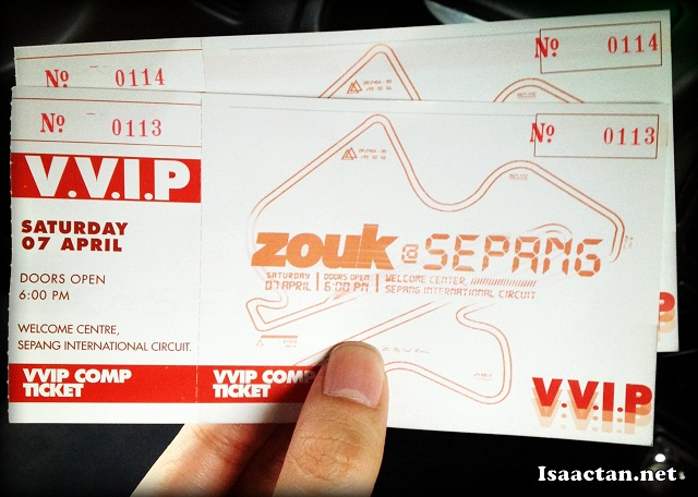 VVIP tickets to Zouk @ Sepang International Circuit 2012
