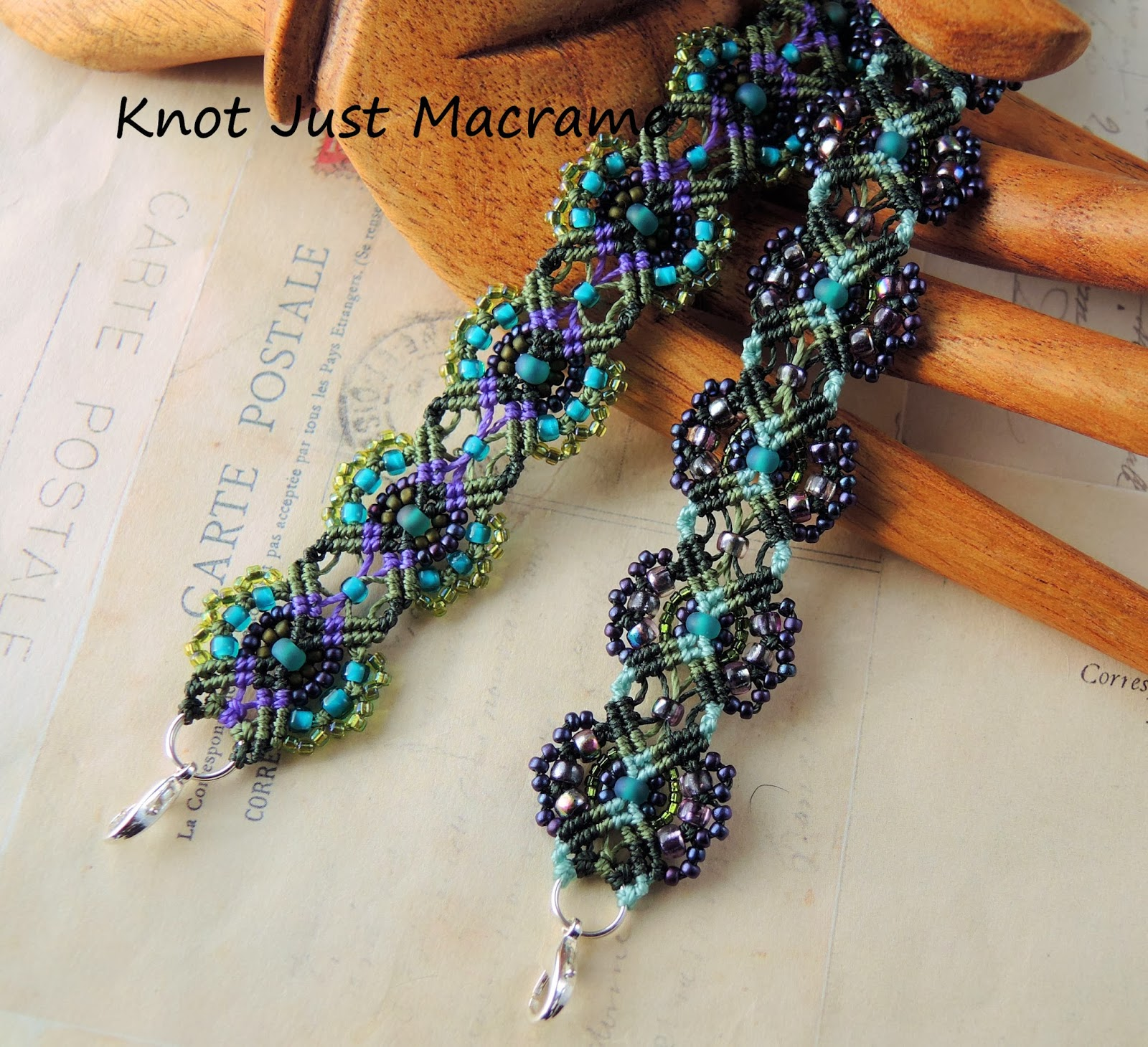 Floral micro macrame bracelets in teal, purple and olive by Knot Just Macrame
