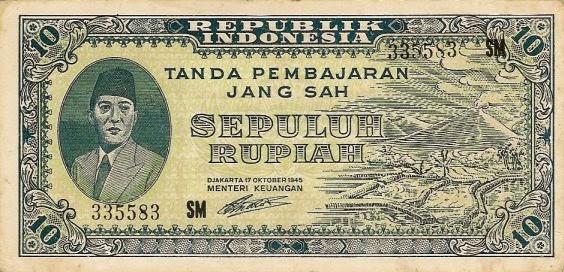 uang kuno 10 rupiah 1945 seri ORI I