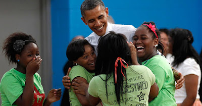 President Obama with women of color
