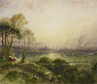 "detail, ""Manchester from Kersal Moor,"" William Wyld"