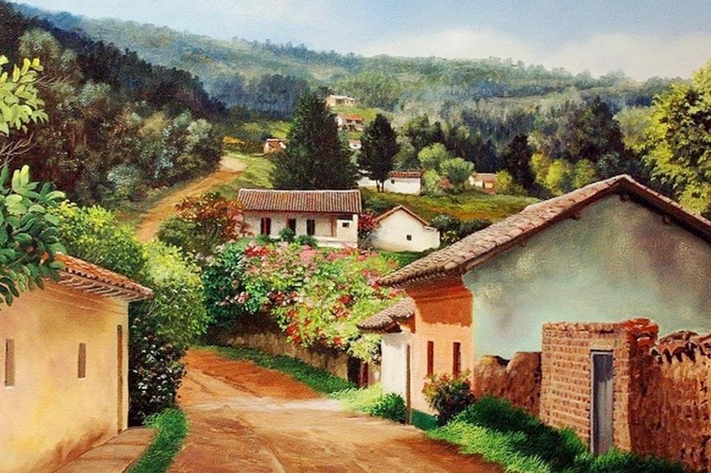 cuadros modernos pinturas y dibujos paisajes con casas