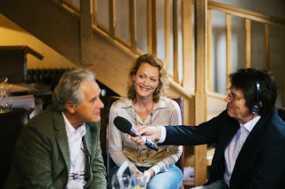 Clive Limpkin, Emma Clark Lam and Mike Read during a radio interview