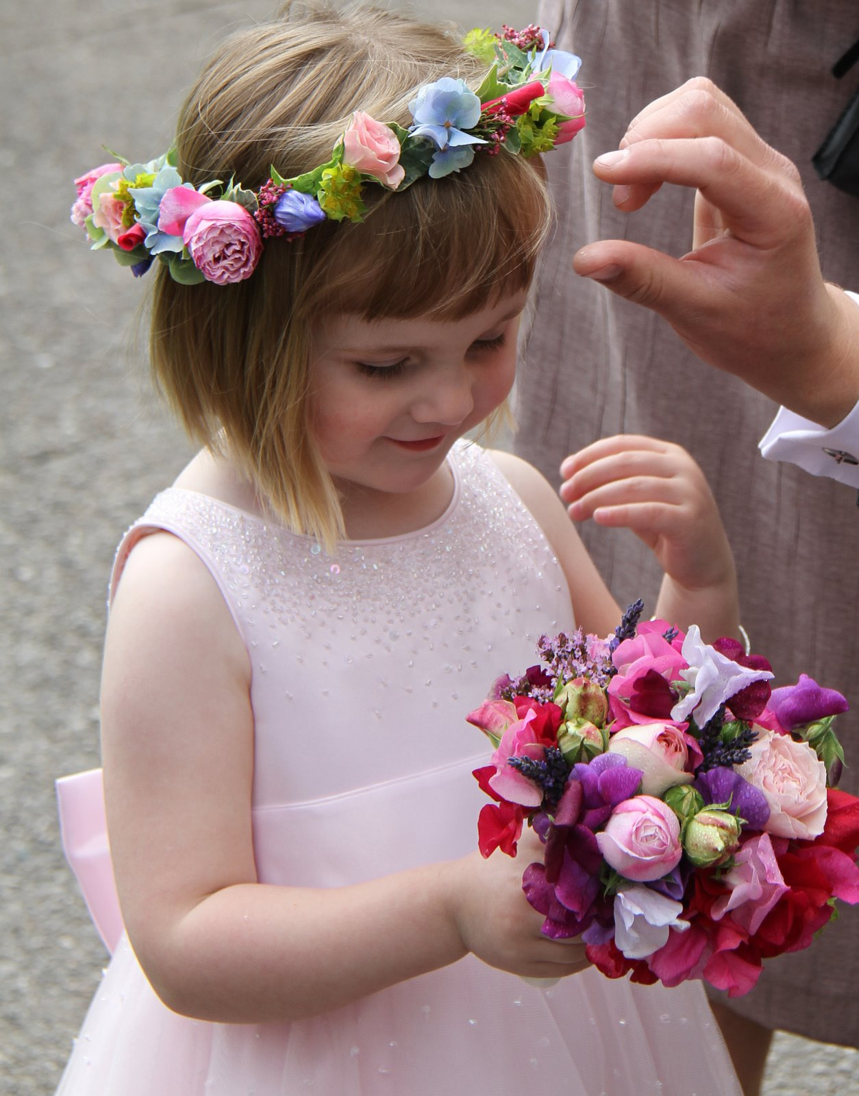 Flower design beautiful bridesmaids bouquets flower girls flower girls headdress and posy in pale pink blue izmirmasajfo