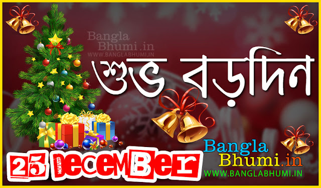 Bengali Christmas Greetings Wallpaper - Subho Borodin Bangla Wish Wallpaper