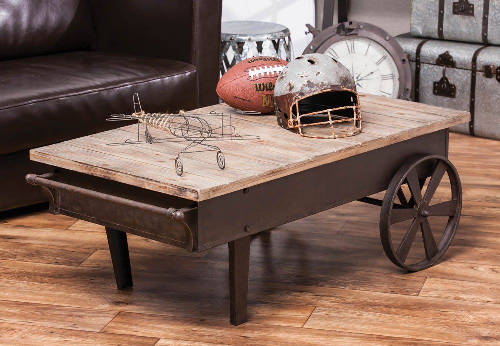 Elegant Vintage Style Metal U0026 Wood Railroad Cart Coffee Table