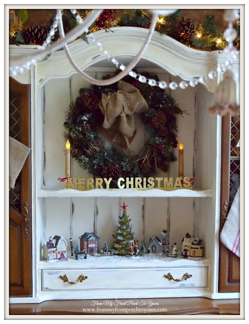 Christmas Village-Christmas Hutch-Farmhouse Christmas Dining Room- From My Front Porch To Yours