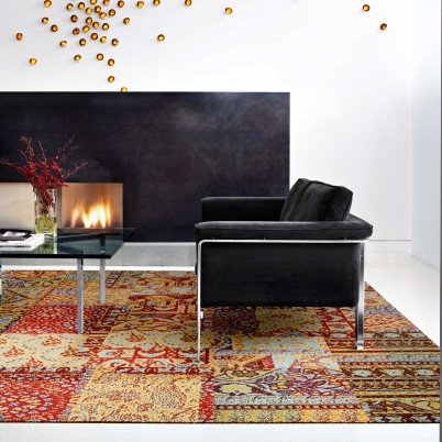 Modern space with FLOR rug tiles