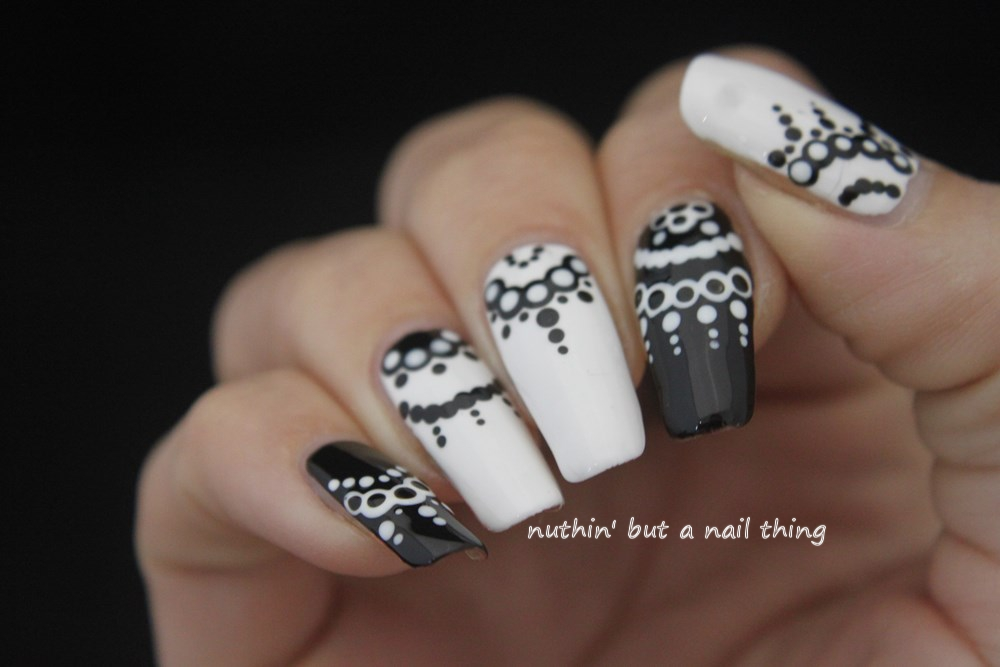 Nuthin but a nail thing 40 great nail art ideas black and white black and white nail art ideas prinsesfo Gallery