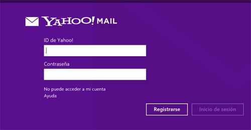 Aplicacion correo Yahoo en Windows 8 | Iniciar sesion