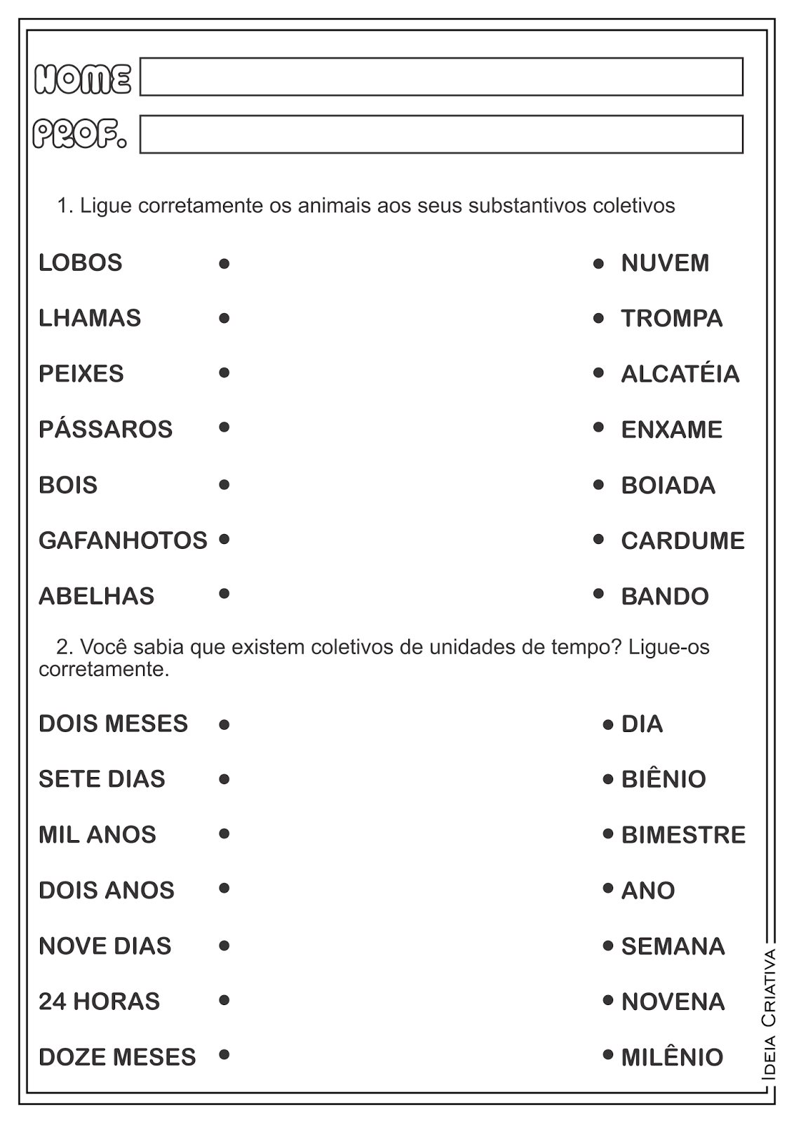 Atividades Substantivos Coletivos Gramática Ensino Fundamental