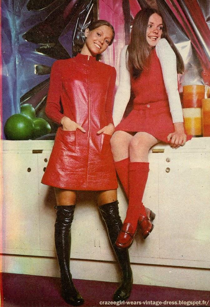 red dress vinyl pvc Vistram 1969 60s 1960