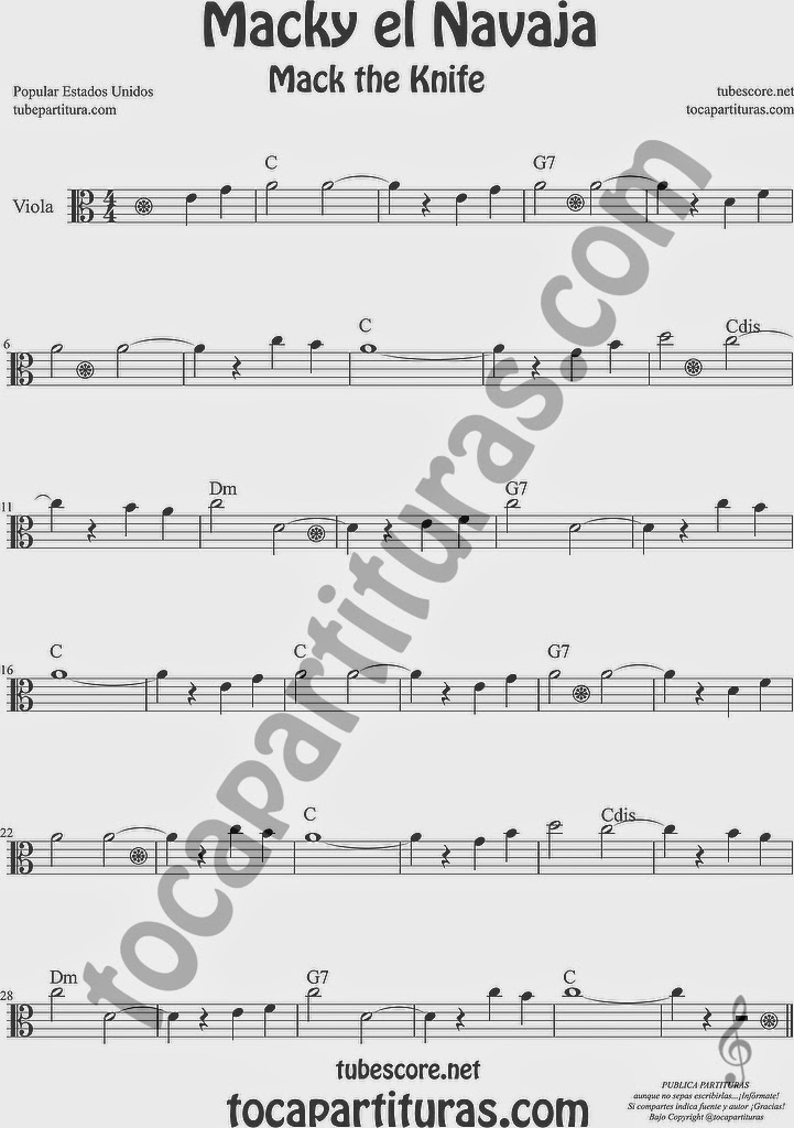 Macky el Navaja Partitura de Viola Sheet Music for Viola Music Score Mack the Knife 8º alta