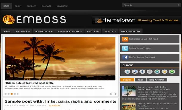 Black Mag Business Jquery Blogger Template