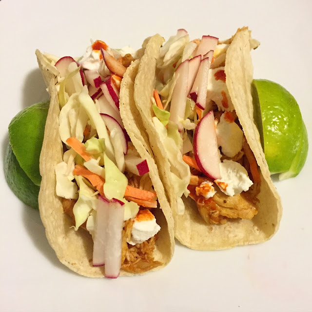Spicy chicken tacos with goat cheese