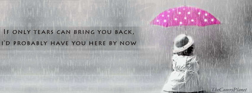 Girl sitting alone in rain with umbrella Facebook CoversLonely Girl Quotes Cover Photos