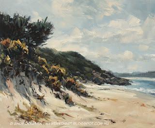 Misery Beach, Albany. Pleain air seascape in oil by Andy Dolphin