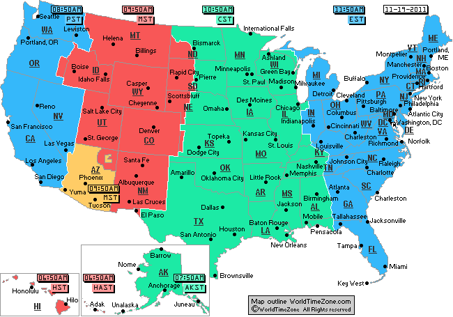 Eastern time zone map with cities