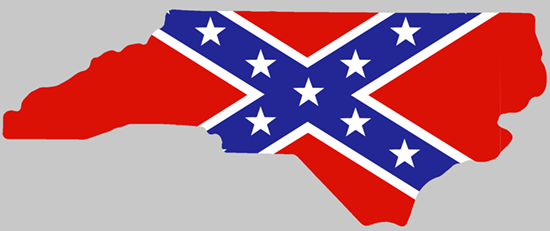 Rebel Flag North Carolina shaped sticker