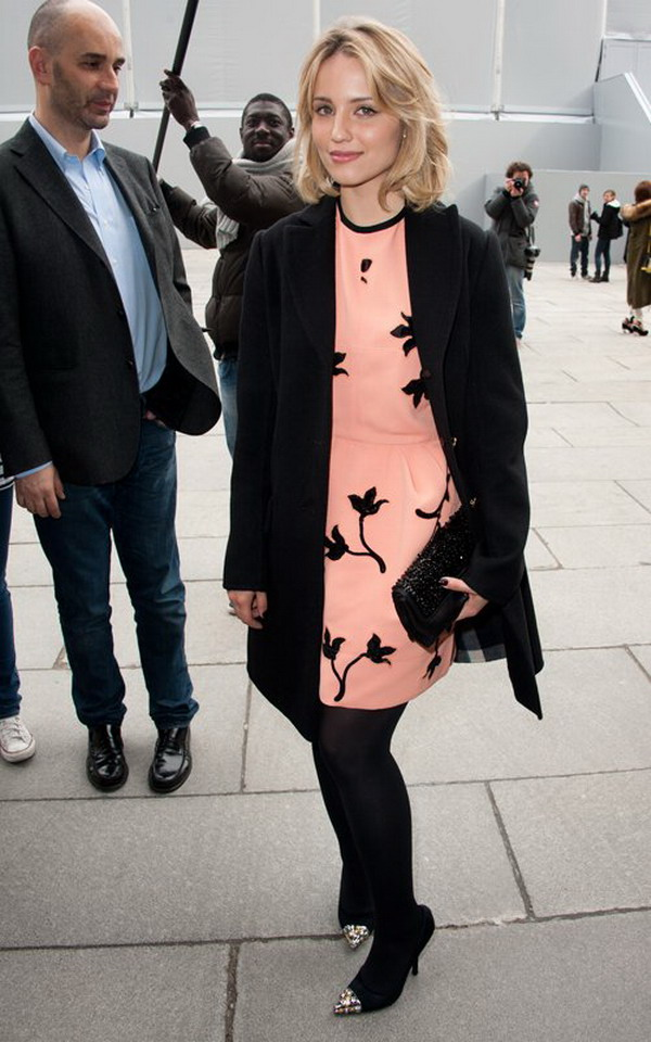 Dianna Agron Wearing A Long Black Coat And Pink Gown Attend Lv France