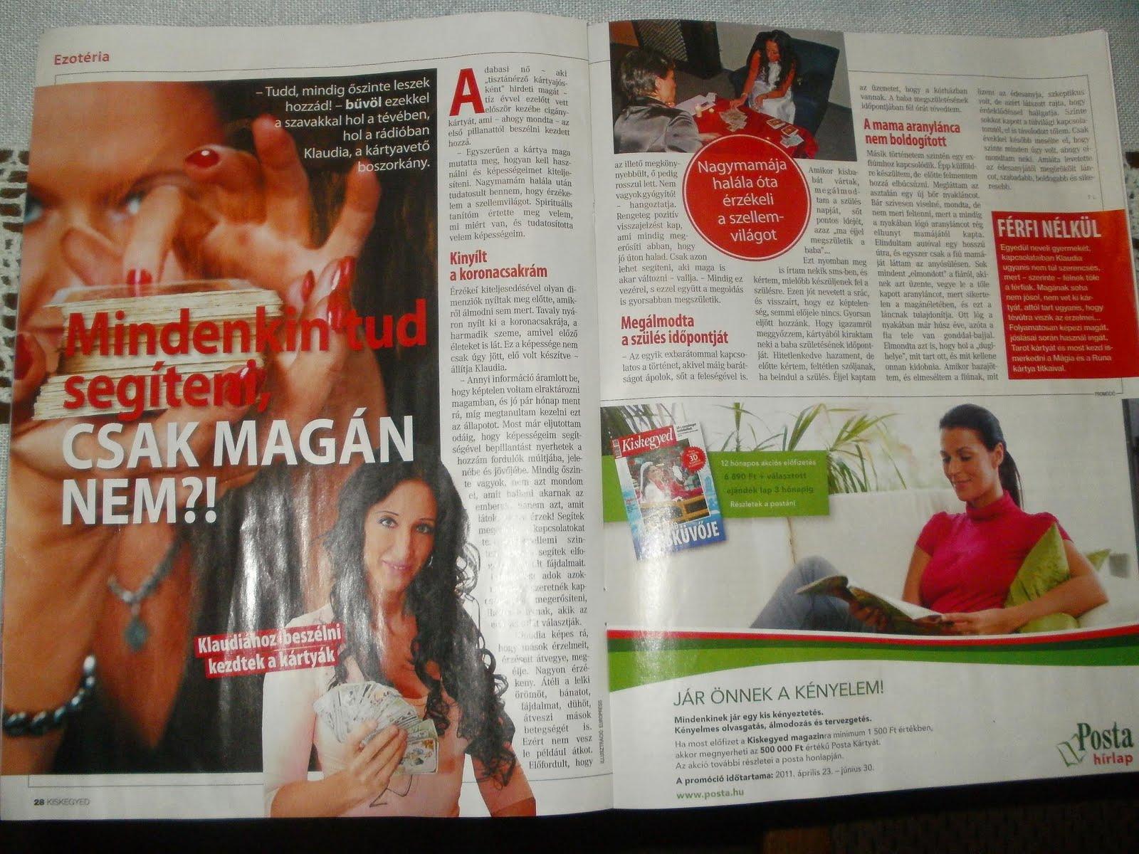 2011.Május 11.-én MEGJELENT KISKEGYED MAGAZINBAN 2 oldalas cikk