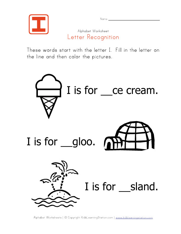 Letter Ii Worksheets First letter of alphabet-