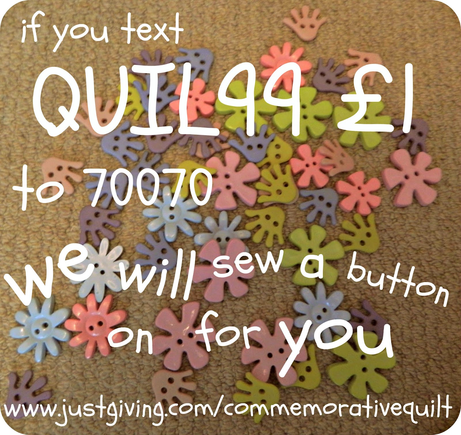 Give us a Helping Hand for  £1 and sponsor a button on the Special Care quilt!
