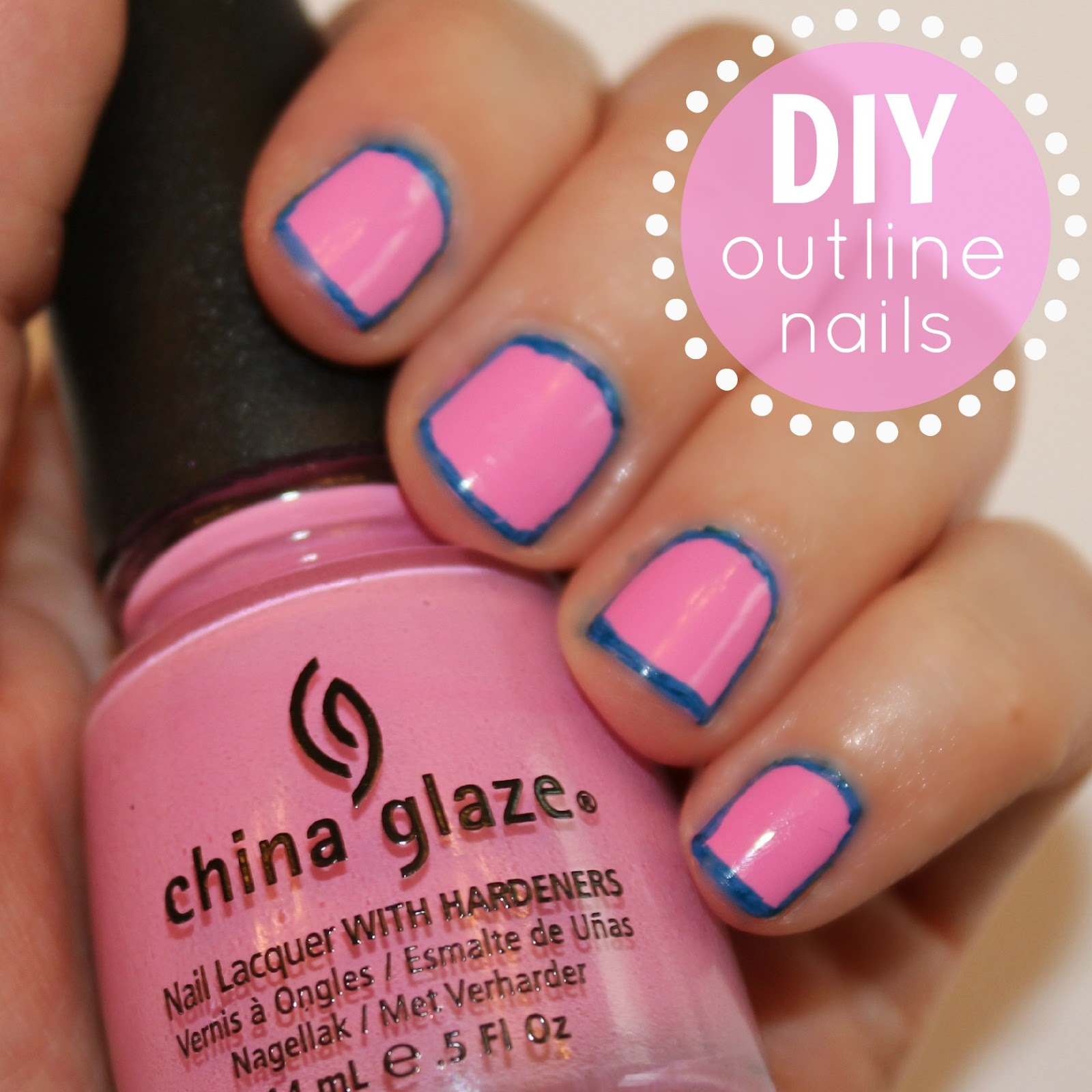 blushing basics: Easy Outline Nails {DIY}