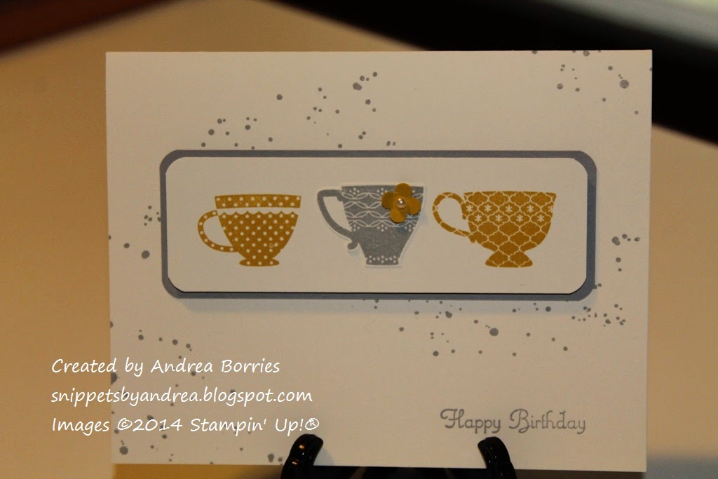 Simple birthday card with a focal image of three yellow and gray teacups.