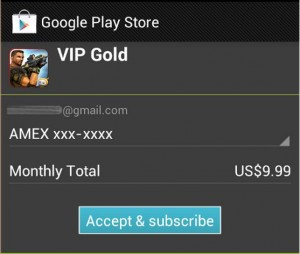 Google's Play Store now suppors in-app subscription payments for all Android applications.
