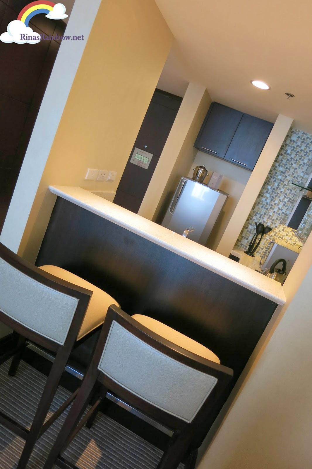 bar stools in hotel room