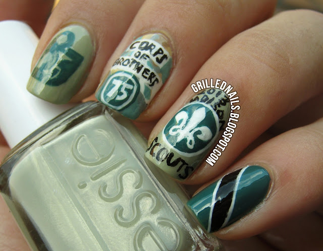 grillednails grilled nails dci drum corps international 2013 color guard percussion brass green essie china glaze opi