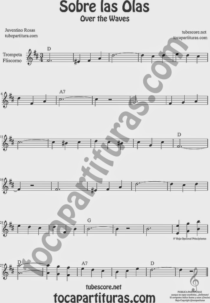 Sobre las Olas Partitura de Trompeta y Fliscorno Sheet Music for Trumpet and Flugelhorn Music Scores Juventino Rosas Over the Waves
