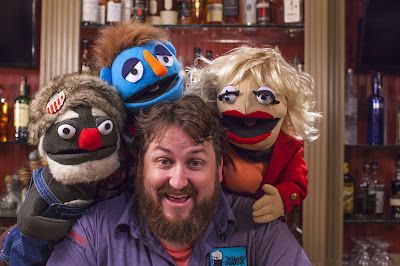 Pappy, Stephen, and Lorraine pose with host Jay Ducote on the set of  Free Booze Friday