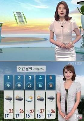 Park Eun Ji (trên) và Kim Hye Seon, những MC thời tiết từng trở thành đề tài bàn luận vì trang phục khi ghi hình.