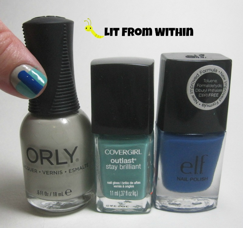 Bottle shot:  Orly Highlight, CoverGirl Mint Mojito, and ELF Skinny Jeans.