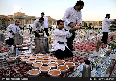 Shia Muslims: Largest Iftar Table during Ramadan in Mashad