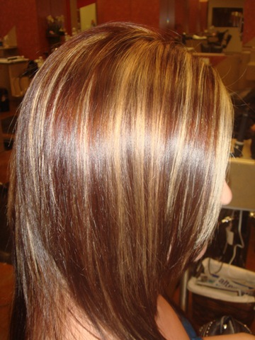 chunky blond red highlights - Inspirational Blonde Chunks In Brown Hair