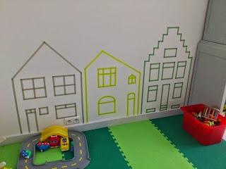 Ondeugende Spruit inspiratie kinderkamer tape huisjes